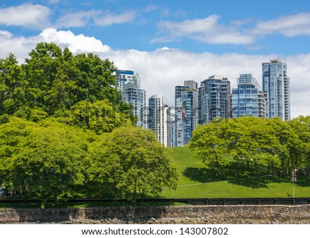 View of Yaletown, Vancouver from Granville Island - stock photo