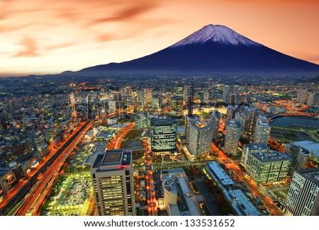 View of Yokohama and Mt. Fuji in Japan. - stock photo