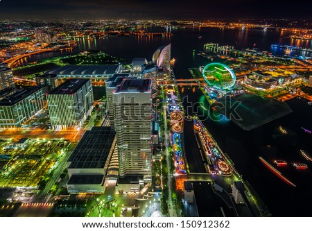 View of Yokohama bay at night - stock photo
