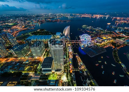 View of Yokohama bay in twilight - stock photo