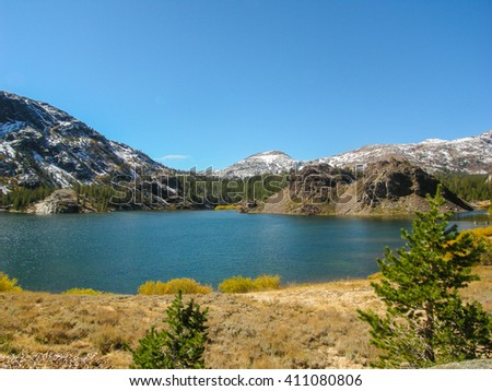 view of Yosemite National Park, Mariposa and Tuolumne State of California - stock photo