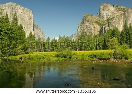 View of Yosemite Valley, the Merced River, El Capitan and Bridalveil Falls in Yosemite National Park, California.