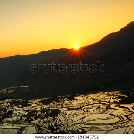 View of Yuan Yang Rice terraces with sunrise and greatest width in Duoyishi, Yunnan of China