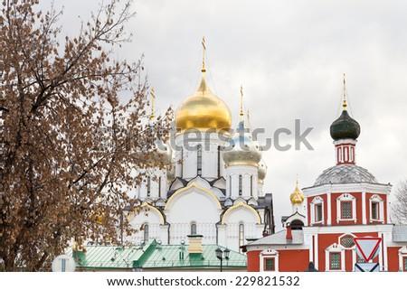 view of Zachatyevsky Monastery (Conception Convent) on Ostozhenka Street in Moscow - stock photo