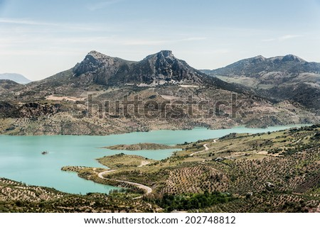 View of Zahara - El Gastor Reservoir, Cadiz, Andalusia, Spain - stock photo