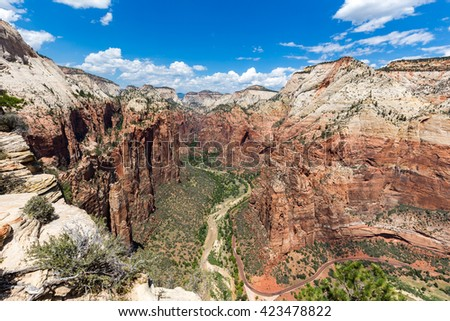 View of Zion National Park from top of Angel Landing, Utah, USA - stock photo