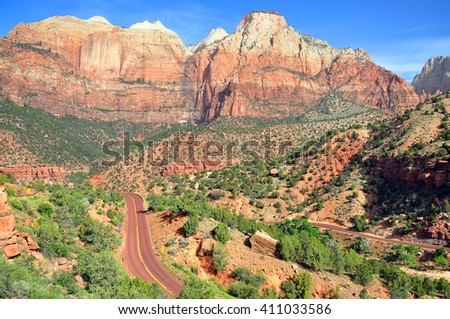 View of Zion National Park on Zion-Mount Carmel Highway (Utah State Highway 9), Utah, USA - stock photo