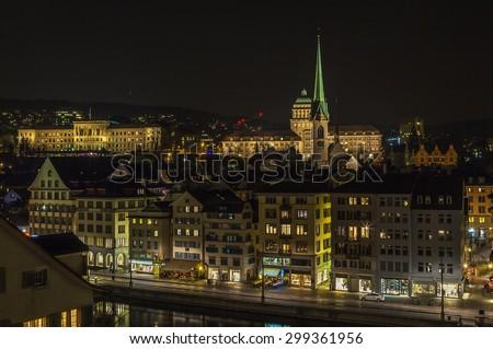 View of Zurich from the Lindenhof hill in evening, Switzerland - stock photo