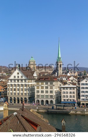 View of Zurich from the Lindenhof hill, Switzerland