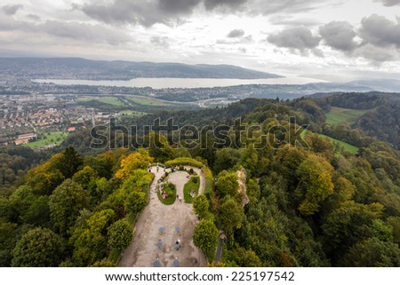 View of Zurich from Uetliberg  - stock photo