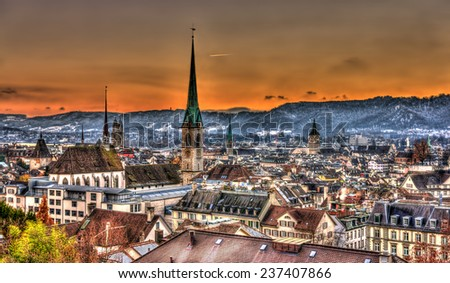 View of Zurich on a winter evening - Switzerland - stock photo