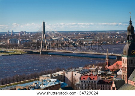 View on a bridge over Dvina  in Riga,Latvia from Peter tower - stock photo