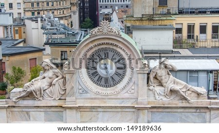 View on a clock from the dome in Milan - stock photo