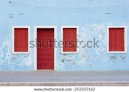 View on a facade of Burano, Italy - stock photo