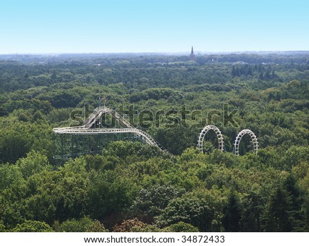 View on a rollercoaster - stock photo