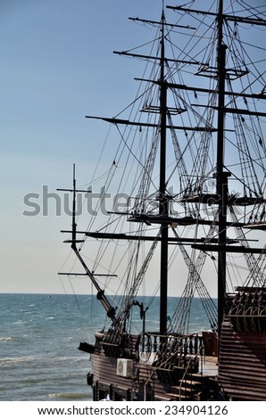 View on a sailboat on the sea background. Sochi, Russia - stock photo