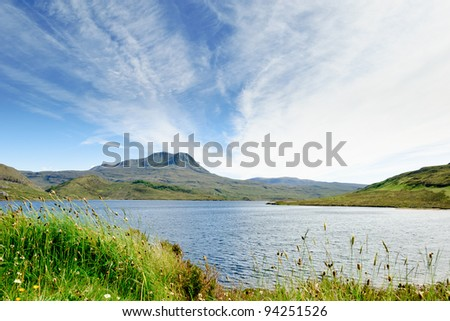 View on a typical scottish lake, Loch Luichart, Scotland - stock photo