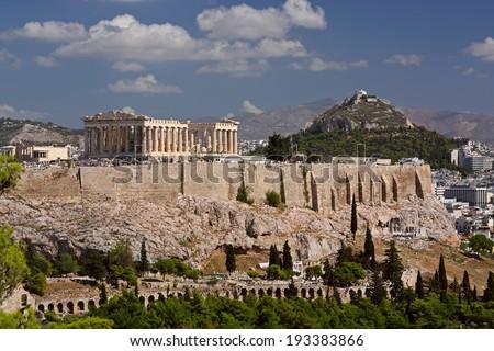 View on Acropolis and Likavitos, Athens, Greece - stock photo