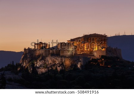view on Acropolis of Athens at sunrise