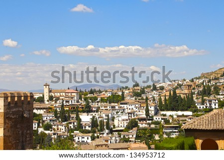 View on Alhambra, Granada and beautiful spanish landscape