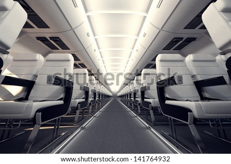 View on an aisle between rows of passanger seats on internacional aircraft's board. - stock photo