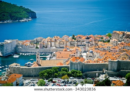 View on ancient castle in Dubrovnik. Croatia. roofs of the old town