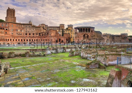 View on ancient ruins, remains and constructions in Rome, Italy.