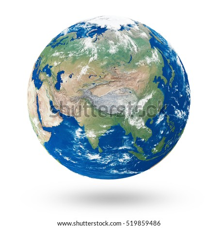 View on Asia. Earth Planet Isolated on white background. Elements of this image furnished by NASA. 3D Rendering