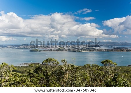 view on auckland from Rangitoto Island in New Zealand - stock photo