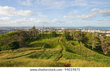 View on Auckland from  volcanic field Mt Eden, North Island, New Zealand. - stock photo