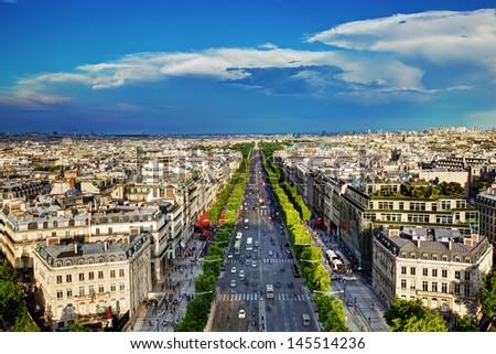 View on Avenue des Champs-Elysees from Arc de Triomphe, Paris, France - stock photo