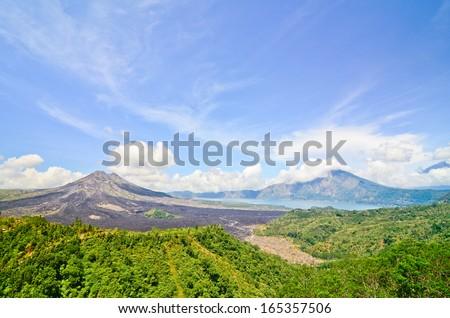 View on Batur volcano and lake, Bali, Indonesia - stock photo
