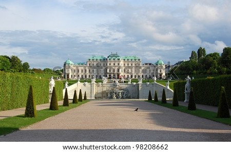 View on Belvedere palace and its garden Vienna, Austria - stock photo