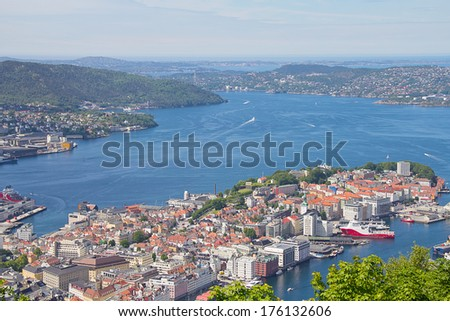 View on Bergen bay from the top - stock photo