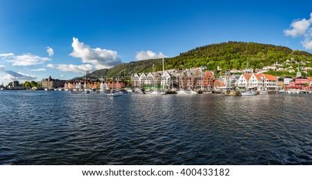 View on Bergen Norway panorama - stock photo
