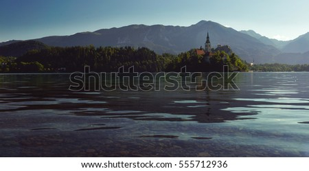 View On Bled Lake, Island,Church And Castle.  Bled,Slovenia,Europe