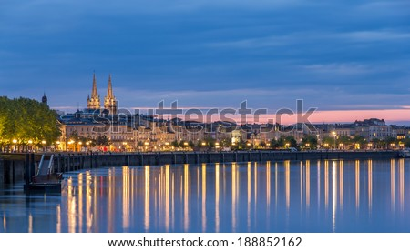 View on Bordeaux in the evening - France - stock photo