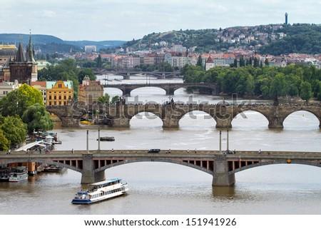 View on bridges across Vltava river in Prague, Czech Republic - stock photo