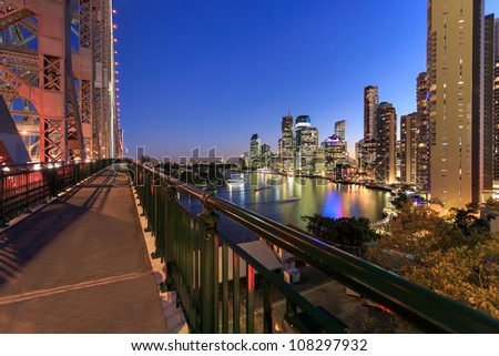 view on brisbane city at night from story bridge (brisbane, queensland, australia) - stock photo