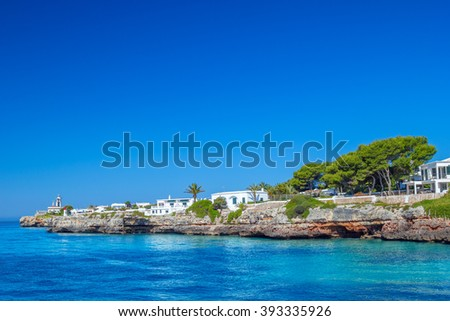 View on Cala des Frares cove at Ciutadella town, Menorca island, Spain. - stock photo