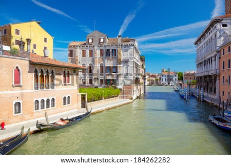 View on Canal Cannaregio from Guglie bridge ( Ponte delle Guglie ) in Venice, Italy - stock photo