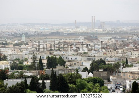 View on Carthage as seen from Byrsa Hill, Carthage, Tunis, Tunisia, - stock photo