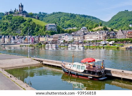 view on castle under town Cochem  on the Moselle's left bank in Germany. - stock photo