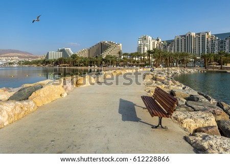 View on central public beach of Eilat - famous resort city in Israel and Middle East
