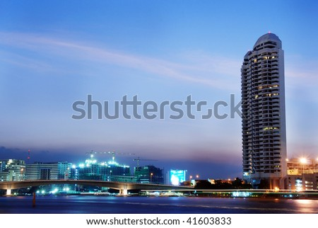 View on Chao Phraya river at night, Bangkok - stock photo