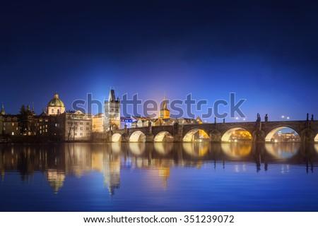 View on Charles Bridge in Prague at night, Czech Republic - stock photo