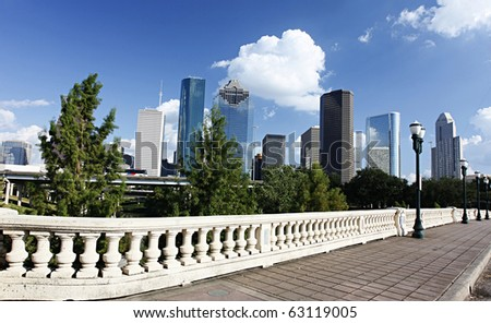 View on City Skyline, Houston, Texas - stock photo