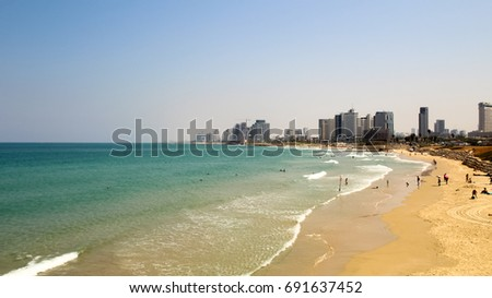 View on coast of Tel Aviv, Israel