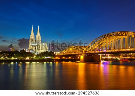 View on Cologne at night - stock photo