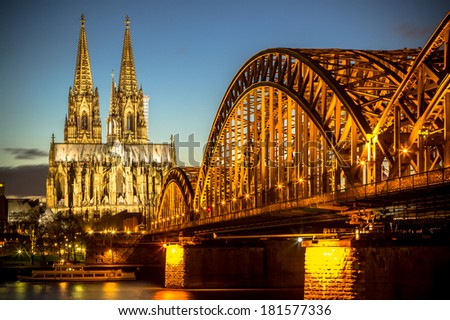 View on Cologne Cathedral and Hohenzollern Bridge, Germany  - stock photo